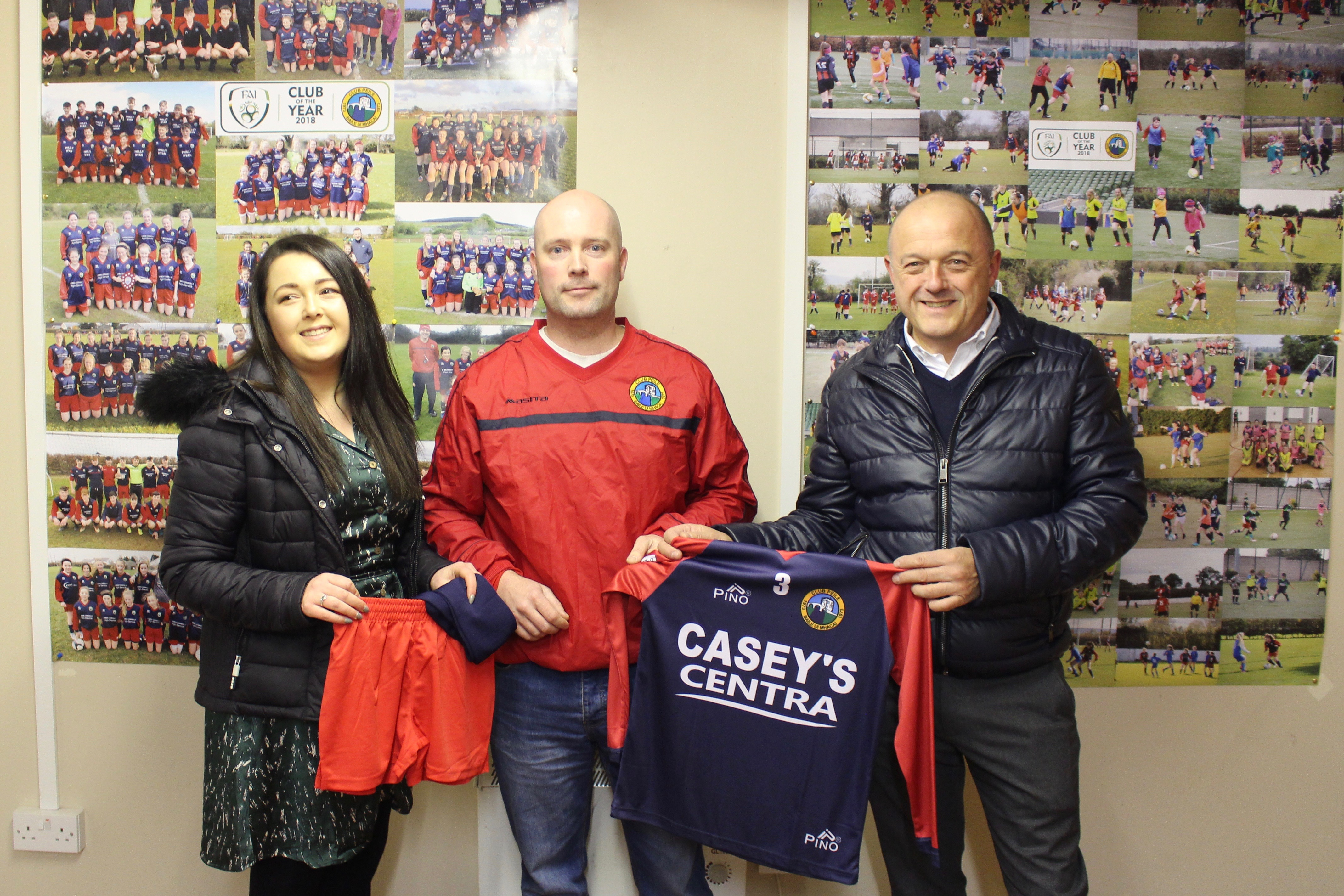 Photographed are Richie and Laura Casey presenting the new kit to our Under 8 Boys manager Alan Young