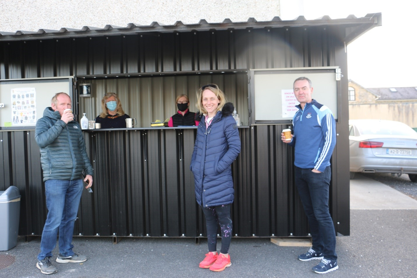 Volunteers Laurie D'Arcy and Marie Carroll on duty at The Downs GAA Cuppa Hut Open Every Friday Evening between 6.30p.m and 7.30p.m.