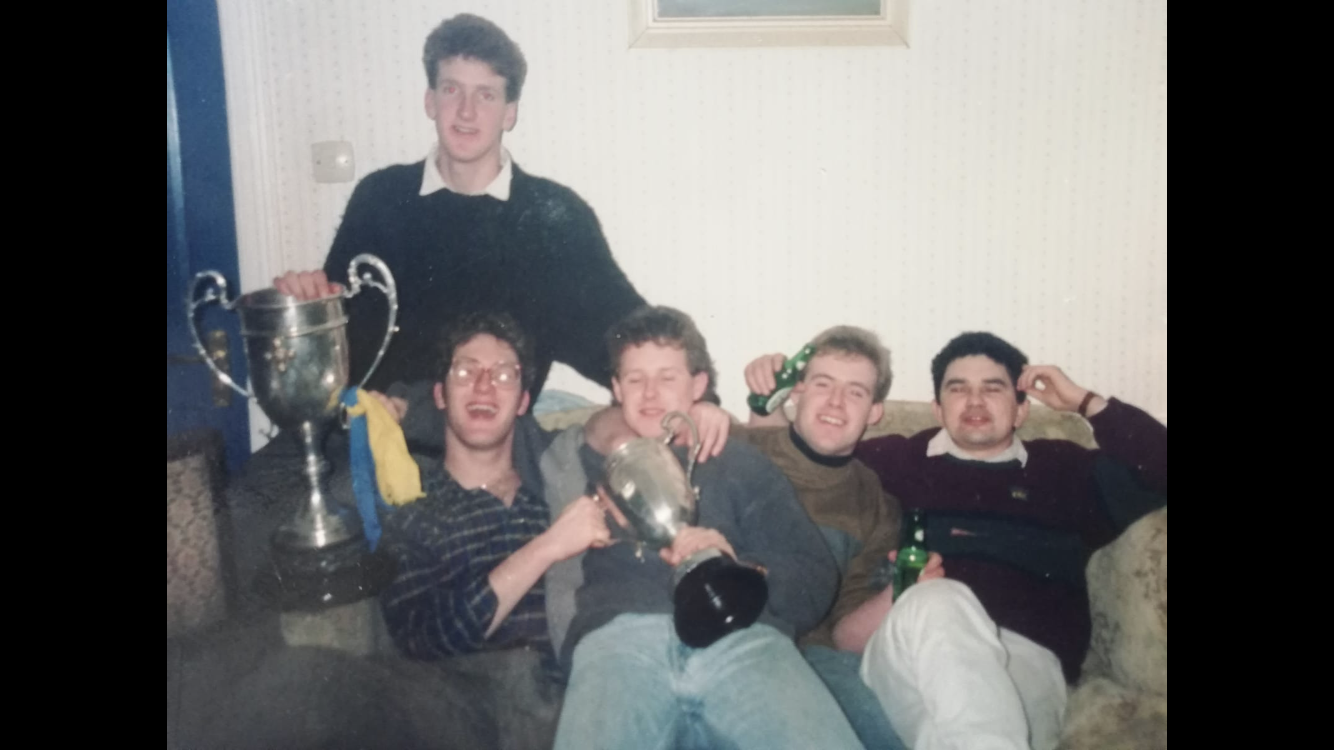 Colm with his brother Cathal, Kieran Ryan, Paul Gavin & Christy Hayes celebrating the 1990 County Junior Football victory