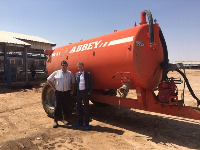 Tony with Michael O'Grady from Abbey Machinery visiting the farm for an after sales service.