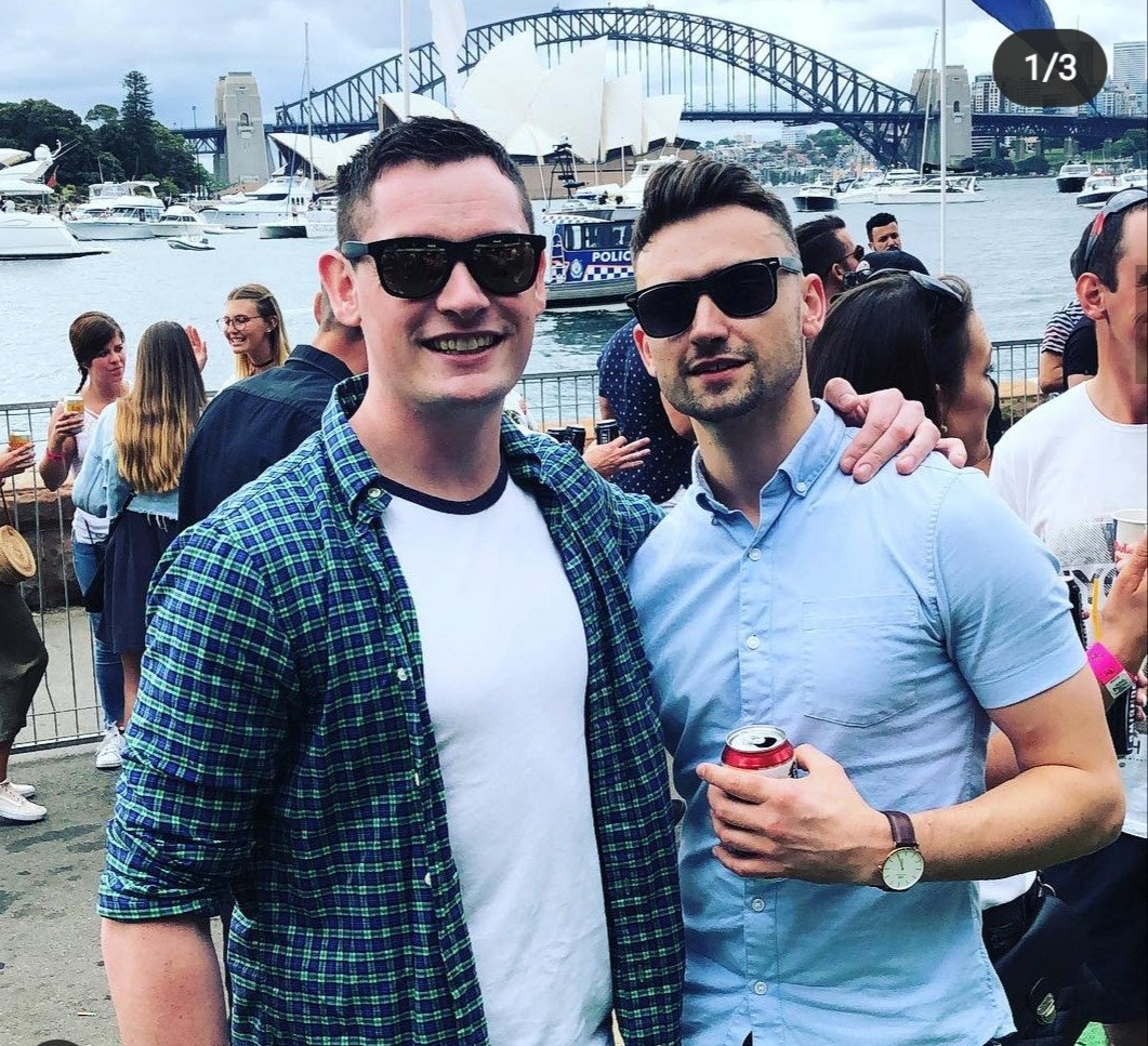 James and Paudie Fogarty with the Sydney Opera House in the background