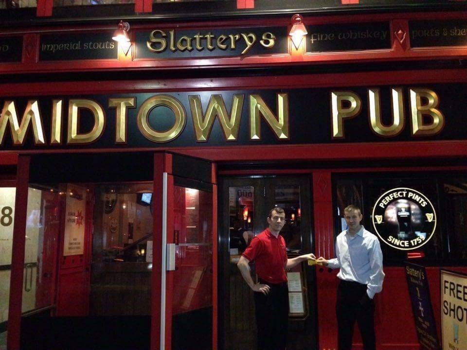 Justin & John Slattery outside their Midtown Pub in New York - a great watering hole for Kiladangan people visiting the Big Apple