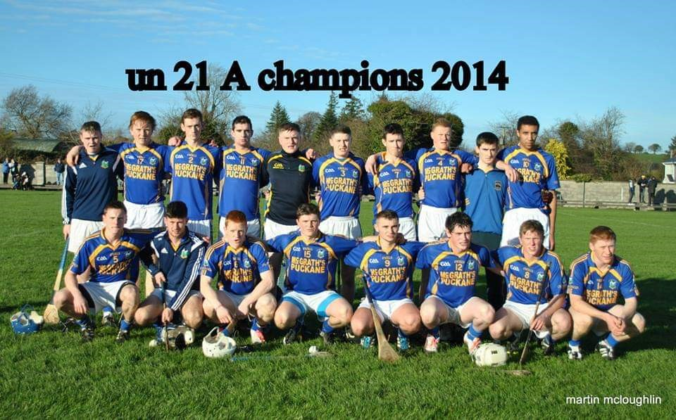 2014 North Under 21 'A' Hurling Champions - James is third in from the right in the front row