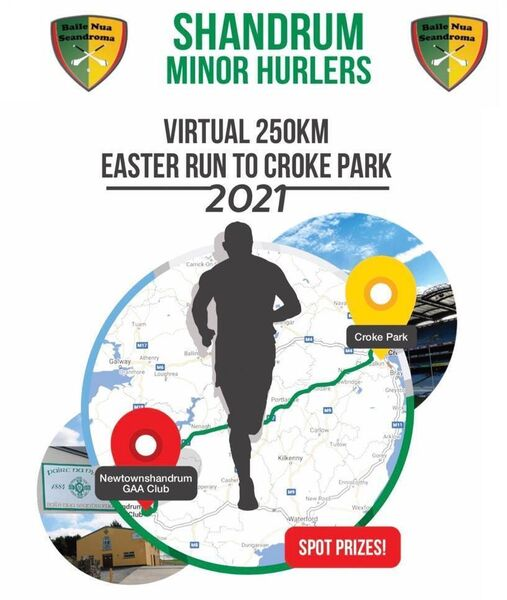The logo designed by the Shandrum minor hurling team for their fundraising virtual run from Newtownshandrum to Croke Park, which takes place from Good Friday-Easter Monday 2021.