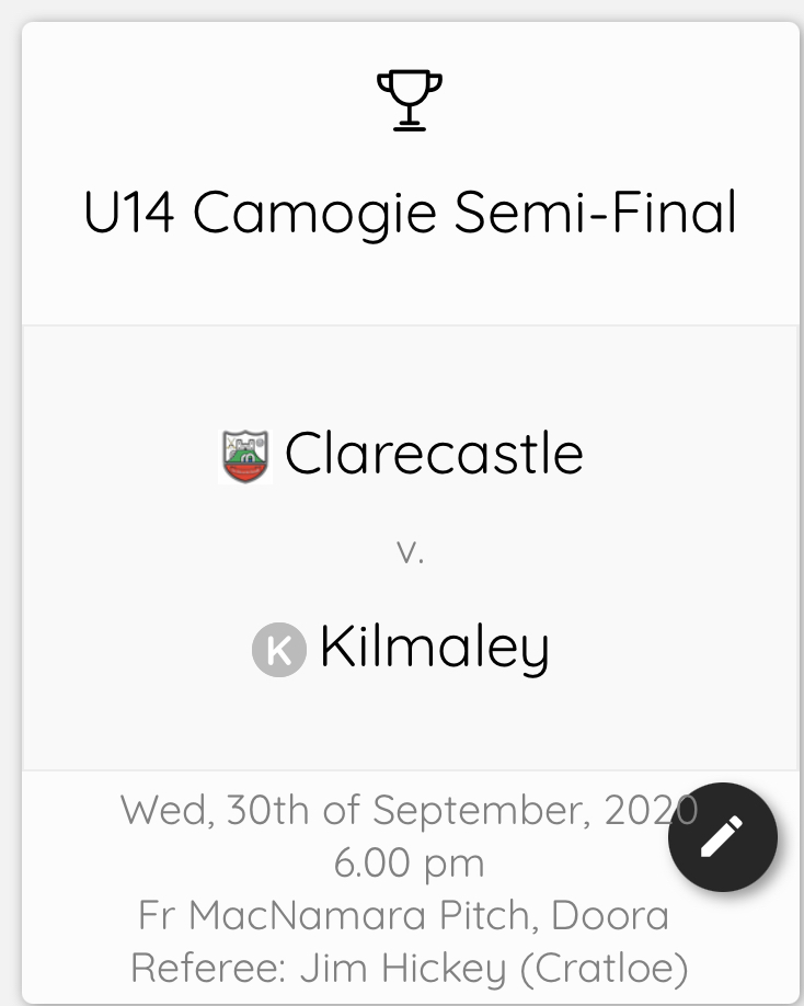 Best of luck to the U14 girls this evening in their semi final v. Kilmaley in Fr. McNamara pitch @ 6pm🏁🏁